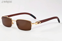 Wholesale Glasses Sun Wood - wood sunglasses new fashion retro buffalo horn glasses for womens brand sunglasses frame black brown clear lenses sport mens sun glasses