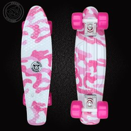 Wholesale Penny Board Long - 22 inchs Long Hydrographics Transfer Printing Pattern Mini Cruiser Skateboard 72 mm Big wheels Retro Fish Shaped Penny Style Board