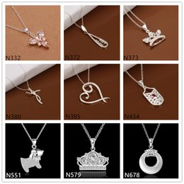 Wholesale Cheap Sterling Silver Crown - Crown heart shape 925 silver Necklace(with chain) 8 pieces a lot mixed style,cheap women's gemstone sterling silver Pendant Necklace EMP35