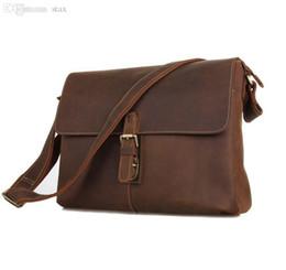 Wholesale Brown Men Business Bag - Wholesale-Top Quality Europe Business Crazy Horse Genuine Leather Men Messenger Bags Brown Color Cowhide Vintage Shoulder Bag #VP-J7084L