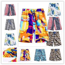 Wholesale Drawstring Fleece Shorts - factory sales colorful floral sports swming trunks plus size Summer Hawaii beachpants Quick Dry Beach Surfing Gym Board Short knee Pants