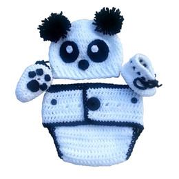 Wholesale Panda Bear Halloween Costumes - Cute Newborn Panda Bear Costume,Handmade Crochet Baby Boy Girl Bear Hat,Booties and Diaper Cover Set,Halloween Costume,Infant Photo Prop