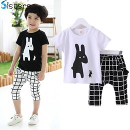 Wholesale Winter Pajama Baby - Wholesale- 2017 Baby Boys Summer Cotton Clothes sets Cartoon Animal Printed Cool black white T-shirts+ lattice pants kids pajama clothing