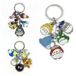 Wholesale Charms Lobster Ring - Anime Cartoon My Neighbor Totoro Color Figures Pendants Metal Keychain Key Ring with 5 small Charms lobster clasp