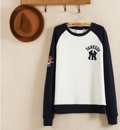 Wholesale Casual Baseball Sweater - NY Spring mlb baseball uniform long-sleeved sweater hedging couple models male and female models Korean version of casual sweater hedging