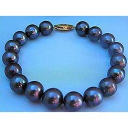 Wholesale Strands Tahitian Black Pearls - 2015 NEW HOT SELL Great 10-11MM AAA TAHITIAN BLACK PEARL BRACELET 7.5 INCH 14K