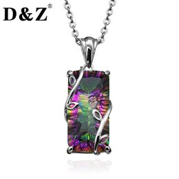 Wholesale Fire Agate Jewelry - D &Z Handmade Fire Rainbow Mystic Natural Crystal Pendant Necklace Sterling Silver Vintage For Women Necklace Jewelry