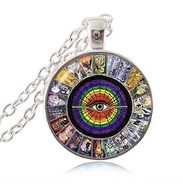 Wholesale Tarot Card Wholesale - Tarot Card Pendant Necklace Zodiac Jewelry Eye Silver Statement Chain Necklace Glass Cabochon Magician ,Empress,Lovers,Strength,Death Photo