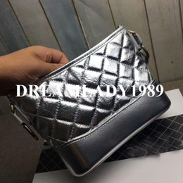 Wholesale Genuine Silver Chains - Silver Tote Bags Fashion Brand Designer Handbags High Quality Women Genuine Leather Gold Silver Chain Hobo Shoulder Crossbody Bag