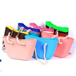 Wholesale Day White Gel - Women Silicone Bag Casual Tote Beach Purses Candy Color Silica Gel Handbag With Rope Handle Italian Bag Bolsas