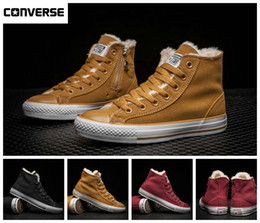 Wholesale Designer Summer Boots - 2017 Converse Winter With Velvet Warm Zip High Top Fur Boots Chuck Tay Lor All Star Canvas Running Shoes Designer Skateboard Sneakers 35-44