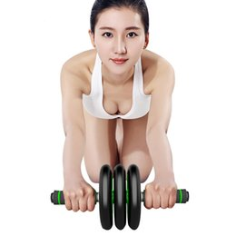 Wholesale Wheel Weights Wholesale - Sports Abdominal Round Fitness Equipment Home Indoor Loudspeaker Mute Power Roller For Body Building Weight Reducing Exercise Double-Wheel