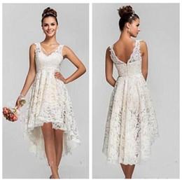 Wholesale Vintage Bridal Wear - 2017 Sheer V-Neck Lace A-Line High Low Wedding Dresses Short Sleeves Summer Bridal Gowns Hi-Lo Formal Wedding Wear