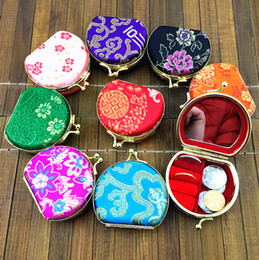 Wholesale Gift Jewelry Boxes Metal - Mirrored Semicircle Small Box for Travel Jewelry Set Gift Box Multi Ring Necklace Storage Case Silk Brocade Colorful Metal Buckle Boxes