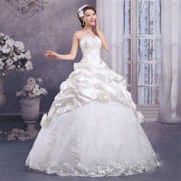 Wholesale Slim Dresses Korea - 2016 New Design Strapless Satin Ball Gown Wedding Dresses Slim Fit wedding Dresses Mermaid Backless Wedding Dresses Korea Style