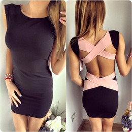 Wholesale Dropship Women S Dresses - Wholesale- New Hot Women sexy bandage dress summer back crosses spaghetti strap stretch bodycon party ball ladies clothes dress dropship
