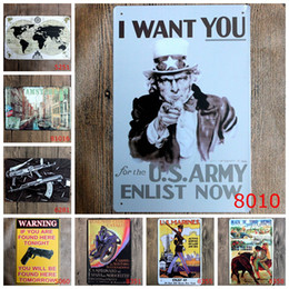 Wholesale Gun Wall Stickers - Classic Wall Stickers Vintage Tin signs Map Uncle Sam Gun signage wall sticker home decor House Office Garage Bar iron Paintings 20*30CM