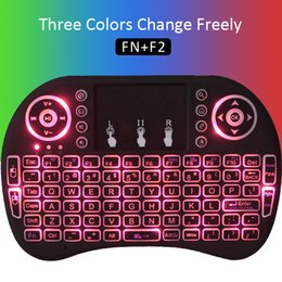Wholesale Multi Media Keyboards - Fly Air Mouse Bluetooth I8 Three Colors Wireless Keyboard Multi-Media Remote Control Touchpad Handheld for X96 mini S905W S912 MXQ Pro 4K