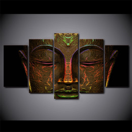 Wholesale Metal Art Oil Painting Abstract - 5 Pcs Set Canvas Pictures HD Prints Wall Art Metal Buddha Face Paintings For Living Room Home Decor Modular Pictures