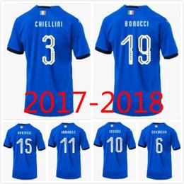 Wholesale Italian Cup - Top quality 2018 Italian soccer jersey World Cup national team home CANDREVA CHIELLINIEL SHAARAWY BONUCCI INSIGNE BERNARDESCHI