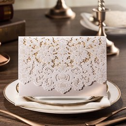 Wholesale Red Gold Wedding Card - Hot Selling Wedding Invitations Cards White Laser Cut Personalized Printable Cards with Lace Flora Wedding Favors