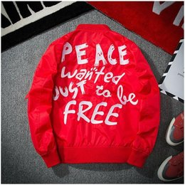 Wholesale Red Faux Leather Jacket Women - jackets men autumn peace bomber jacket women anorak windbreaker collge jaqueta masculino military casaco masculino