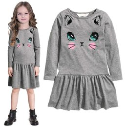 Wholesale Grey Sleeved Dress - 2 3 4 5 6 7 8 Years Girls Dresses Full Sleeved Children Dress Grey Cat Baby Girls Clothes Outerwear Girl Blouses Sweatshirts Top