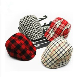 Wholesale Kids Red Beret - Free shopping 2016 Spring and Autumn Kids Fashion Berets Plaid Hats For Baby Boy And Girl Hat And Cap 15 Colors