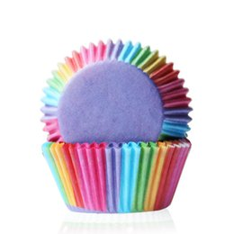 Wholesale Paper Tray Cups - wholesale Rainbow color 100 pcs cupcake liner baking cup cupcake paper muffin cases Cake box Cup tray cake mold decorating tools