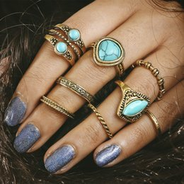 Wholesale Vintage Turquoise Gold Ring - Lovely Vintage Ring Set for Women Turquoises Retro Gold Color Ring Delicate Fashion Jewelry Charm Accessories Free DHL D13S