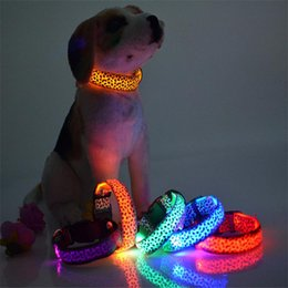 Wholesale Various Bands - Led Flashing Cat Dog Pet Collar Solid Color Leopard Nylon Band Night Light Up Lead Puppy Necklace Adjustable S M L XL Various Colors