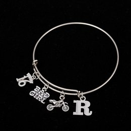 Wholesale Love Heart Sweet Fashion - Myshape Cool Fashion Stainless Steel DIY Charms Bracelet Letter R Sweet 16 BADGIR Motorbike Pendant Bangle Wristbands