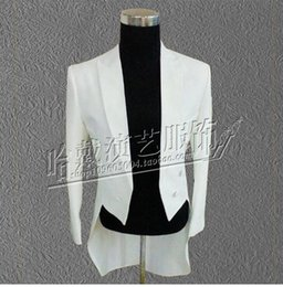 Wholesale Dance Costume Tuxedo - Men's cultivate one's morality personality costumes nightclub singer star stage performance clothing white tuxedo coat S - 5 xl