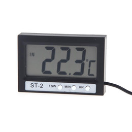 Wholesale Wholesale Indoor Outdoor Thermometer - Mini LCD Indoor Outdoor Digital Celsius Thermometer Temperature Meter Indoor Outdoor Clock with Probe ST-2 Free shipping