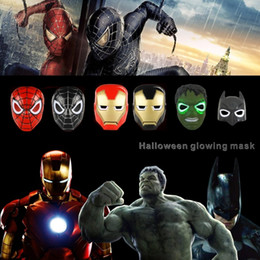 Wholesale Giant Wholesale - LED Glowing Cartoon Movie Mask Cosplay Party Masks Halloween Children Mask Spider-Man Lron Man Green Giant Batman.