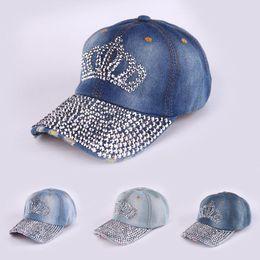 Wholesale Rhinestone Cowboy - 2016 NEW fashion Crown Rhinestone denim baseball cap sun visor cap men and women casual cowboy hat baseball hat gorras snapbac