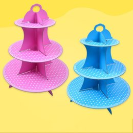 Wholesale wholesale snack cakes - New Arrival Dessert Racks Paper 3 Tier Pink Dot Cupcake Stand Birthday Party Supplies Snack Cake Rack Cute 4hq B R