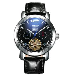 Wholesale Aesop Watches - Aesop watches Men's mechanical watch fashion belt brake all hollow out men's watch waterproof leather man selling