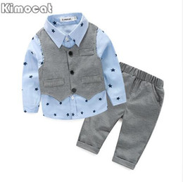 Wholesale Boys Blue Collar Shirt - 2017 Spring Baby Boy gentleman suit shirt + overalls 2pcs long sleeve T-shirt boys pants kids clothes children's clothing set