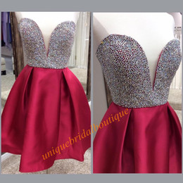 Wholesale Embellished Strapless Sweetheart Gown - 2016 Jvn Dark Red Homecoming Dresses with Embellished Bodice Real Picture Crystals Rhinestones Satin Burgundy Sweet 16 Gowns Short