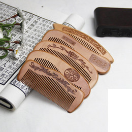 Wholesale Anti Static Hair Brush - Natural peach combs thickened carved wood combs Anti-static massage scalp health portable hair comb wedding favor Women's gifts
