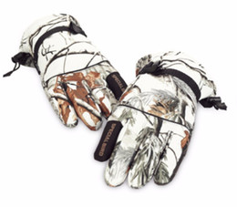 Wholesale white fishing gloves - High Quality Autumn and winter outdoor warm fleece gloves bionic camouflage hunting fishing ski snow camo waterproof gloves