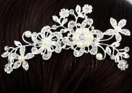Wholesale Celtic Wedding Tiara - Wholesale Fashion Bridal Wedding Tiaras Stunning Fine Comb Bridal Jewelry Accessories Crystal Pearl Hair Brush Free Shipping