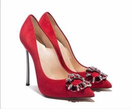 Wholesale Single Diamond Wedding Shoe - 2016 Europe fashion handmade suede grey red Shallow mouth high heeled pumps diamond metal heel pointed toe woman single shoes