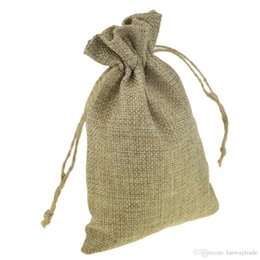 Wholesale Wholesale Jute Gift Pouches - 10x15cm Custom Printed Faux Jute Drawstring Pouches Gift jewelry packaging bags Stylish Natural Burlap with hemp Rope Drawstring Reusable