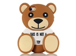 Wholesale Iphone Teddy 3d Cases - 2015 Newest Fashion 3D Cute Luxury Soft Silicone Teddy Bear Back Case Cover For iphone 6 6S 6+ 5 5G 5S iphone6 plus