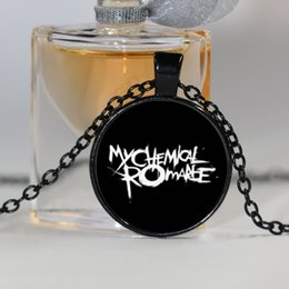 Wholesale Rocks Picture - Free shipping Glass Picture Necklace Rock Band My Chemical Romance Necklace zinc alloy glass pendant art glass necklace