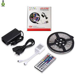Wholesale Power Supply Pc - 5050 LED Strip Light RGB Flexible Waterproof 5m 44Key IR Remote Controller and 12V 5A power supply all in one set
