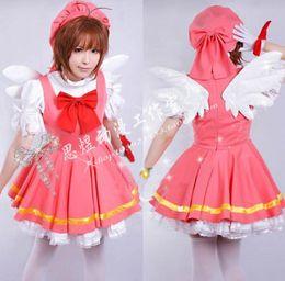 Wholesale Sakura Dress - Wholesale-Cardcaptor Sakura kinomoto sakura cosplay costume Magical pink dress +hat+ wings costume