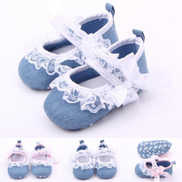 Wholesale Girls Strap Jeans - Hot Wholesale Jeans Lace Bowknot Hook & Loop Strap Baby Shoes First walker Toddler Baby Girl Shoes Two Colors